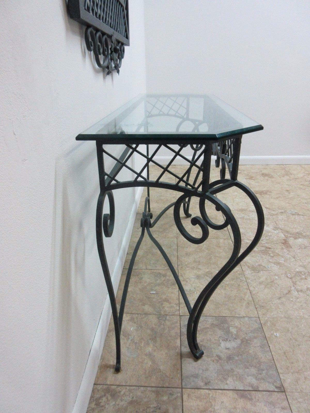 Ethan Allen Wrought Iron Glass Top Mirror U0026 Console Table   Image 4 Of 10
