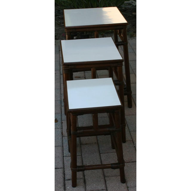Mid Century Modern Rattan Wicker Nesting Tables With White Laminate Top - Set of 3 For Sale In West Palm - Image 6 of 8