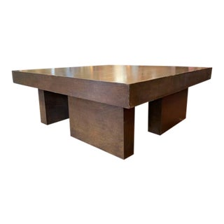 Mid Century Geometric Wood Coffee Table For Sale