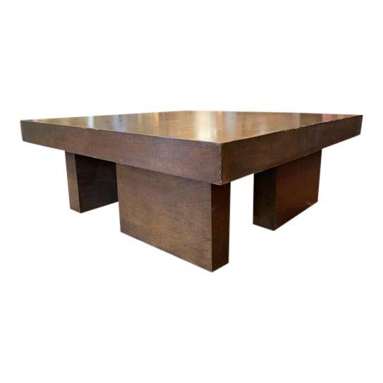 Mid Century Geometric Wood Coffee Table For Sale