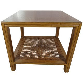 1980s Mid Century Modern McGuire Walnut Side Table For Sale