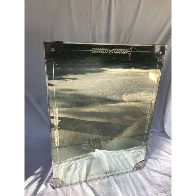 Mid-Century Large Etched Glass Wall Mirror For Sale In Philadelphia - Image 6 of 6