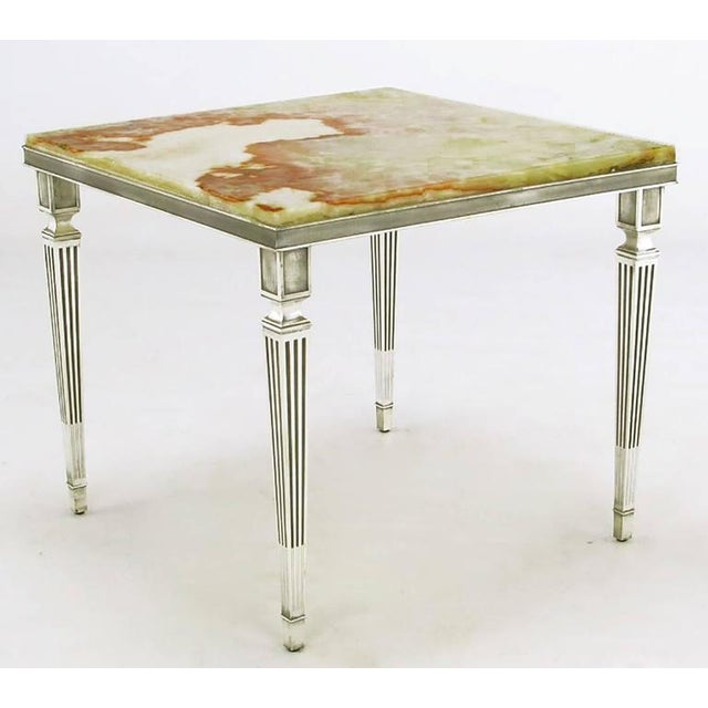 Pair of 1940s Silver Plated Bronze and Onyx End Tables - Image 2 of 7