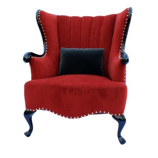 Late 20th Century Vintage Channel Wing Back Chair For Sale