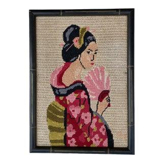 Vintage Framed Needlepoint of a Geisha For Sale