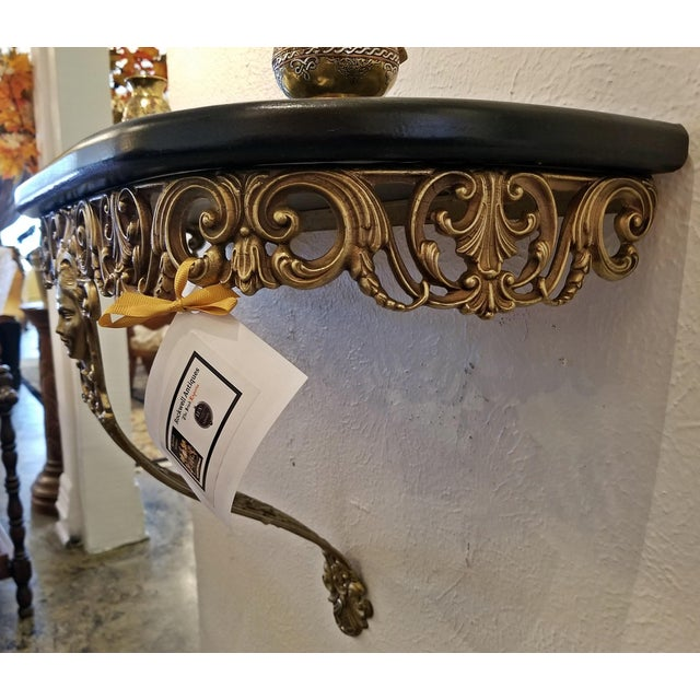 Early 20c French Art Nouveau Style Brass Wall Bracket Shelf For Sale - Image 11 of 12