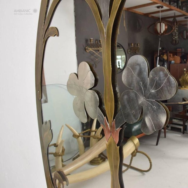 Brass Mid-Century Modern Italian Mirror For Sale - Image 7 of 11