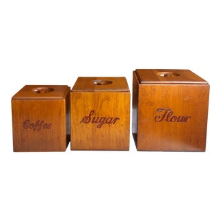 Mid 20th Century Vintage Farmhouse Pine 3 Piece Coffee Sugar Flour Kitchen Canister Set - Set of 3 For Sale