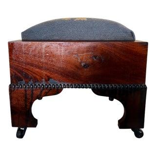 19th Century Empire Mahogany Needlepoint Footstool For Sale