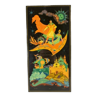 Late 20th Century Russian Palekh School Mythological Scene Lacquer Plaque For Sale