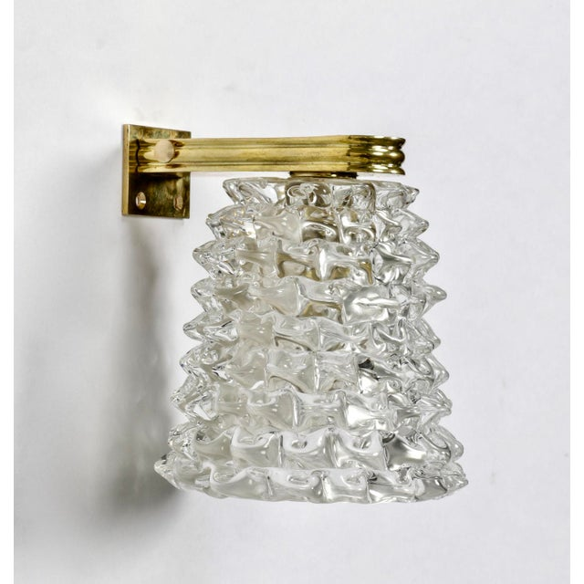 1970s Pair of Mid-Century Murano Bubble Glass and Brass Sconces For Sale - Image 5 of 6