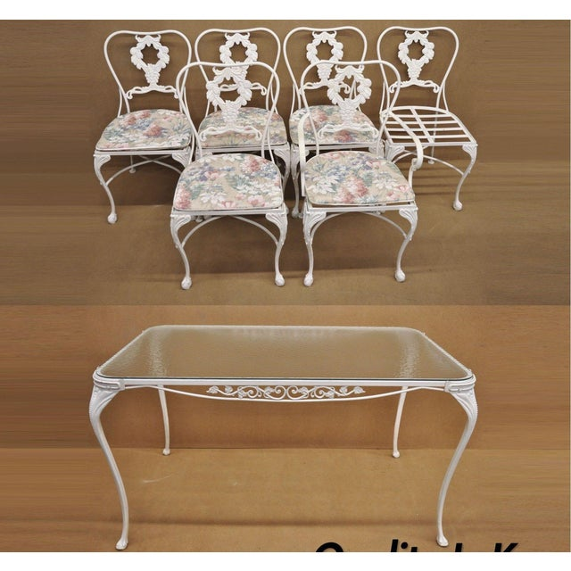 20th Century Victorian Cast Aluminum Patio Dining Set - 7 Pieces For Sale - Image 13 of 13