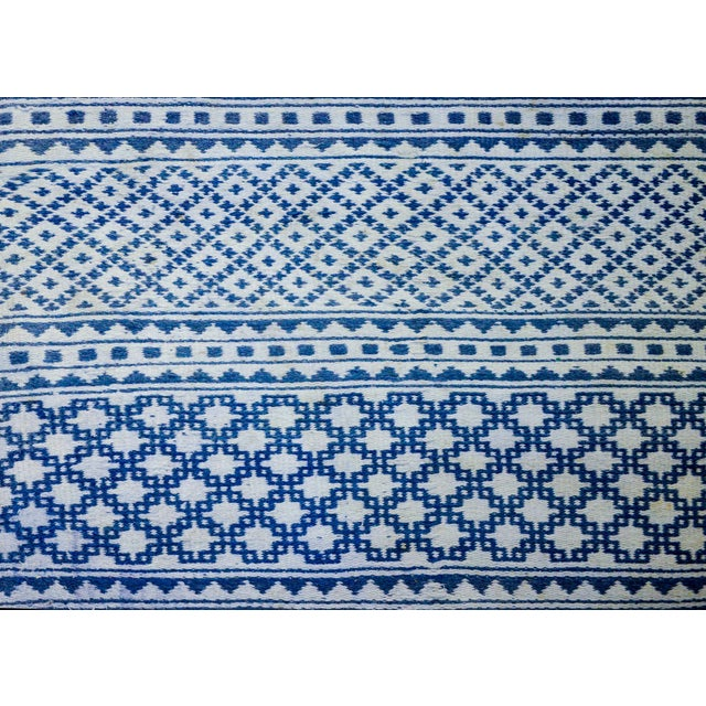 Gorgeous Vintage Blue and White Yadz Kilim Rug For Sale - Image 9 of 13