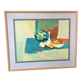 Vintage Mid-Century Claude Lemeret Limited Edition Signed French Still Life Painting For Sale
