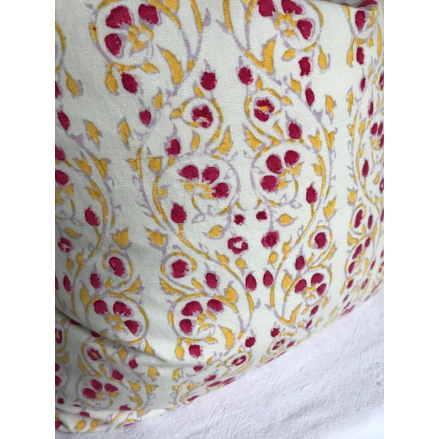 John Robshaw Block Print Cotton Pillow For Sale - Image 4 of 6