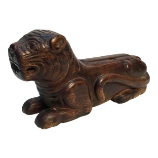 Antique Asian Carved Wood Cat Form Box For Sale