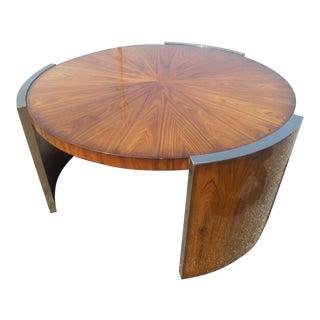 1960s Maitland Smith Mid-Century Modern Round Mahogany Starburst Coffee Table For Sale