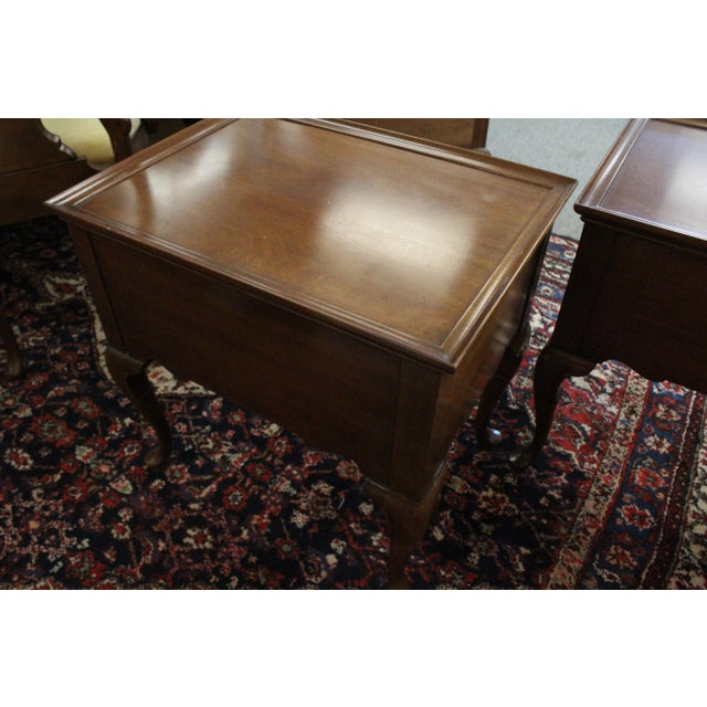 Brass 20th Century Traditional Mahogany End Tables - a Pair For Sale - Image 7 of 8