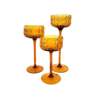 3 Mid-Century Gold Italian Glass Candle Holders For Sale