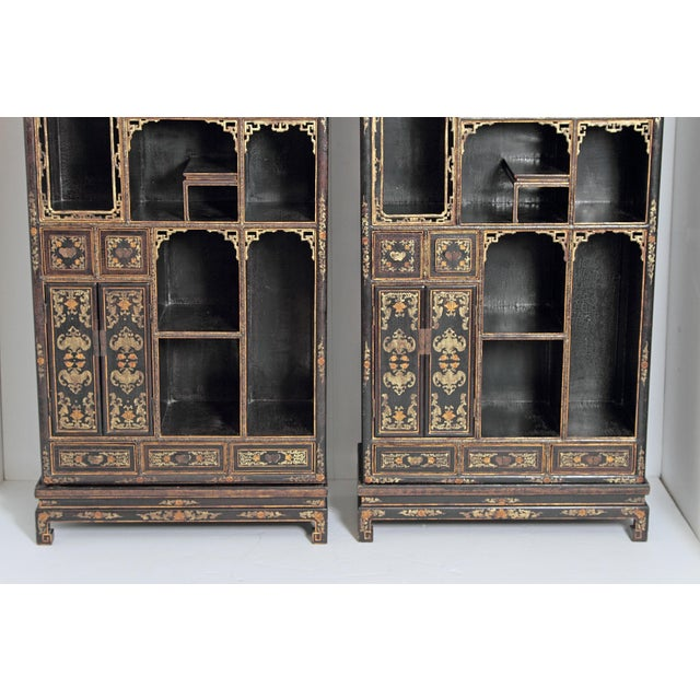 Gold Pair of Black Lacquer Chinese Display Cabinets For Sale - Image 8 of 13