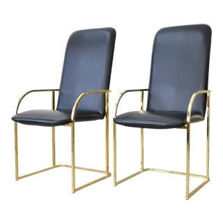 Postmodern Brass Dining Chairs by Design Institute of America - a Pair For Sale