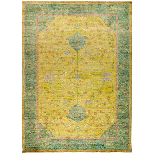 """New Yellow Hand-Knotted Rug 10' 2"""" X 13' 9"""" - Image 1 of 3"""