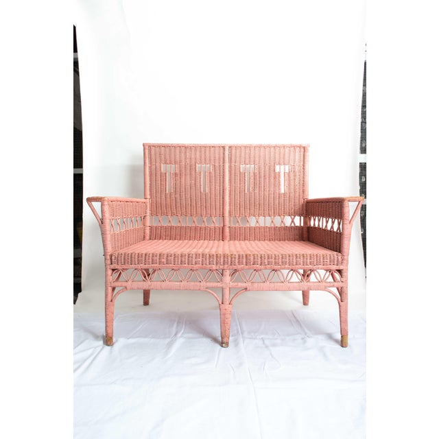 1950s Boho Chic Pink Rattan Settee or Love Seat For Sale - Image 11 of 11