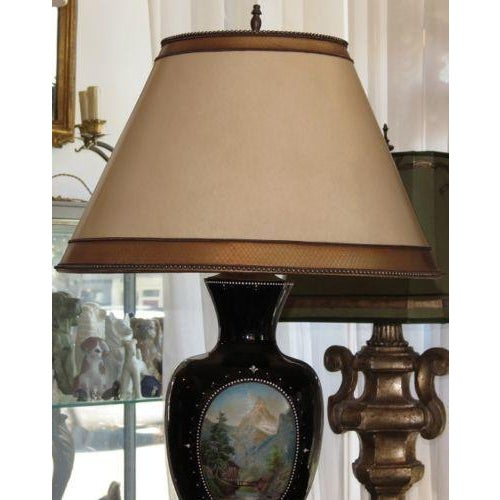 Antique Moser Hand-Painted Glass Vase Lamp - Image 3 of 5