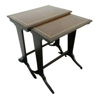Mahogany Leather Top Set of Two Nesting Tables For Sale