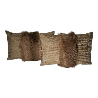 Contemporary Tanuki Fur and Gold Embossed Velvet Pillows - a Pair For Sale