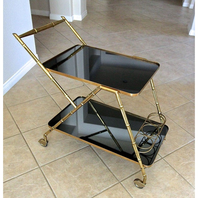 Italian Brass Faux Bamboo Bar Tea Cart For Sale - Image 12 of 13