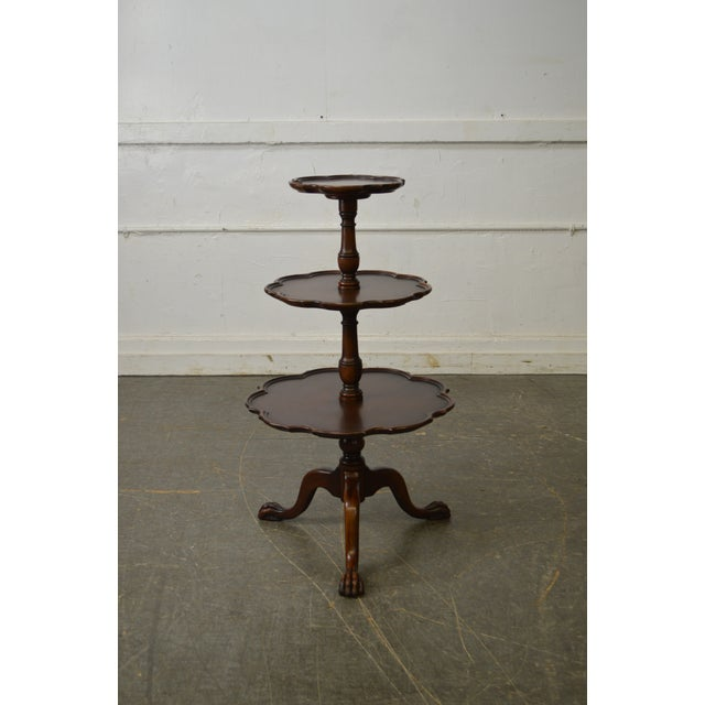 Vintage Mahogany Chippendale Style Claw Foot 3 Tier Dumbwaiter Table For Sale - Image 4 of 11