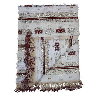 Moroccan Blanket W/ Diamonds & Stripes For Sale