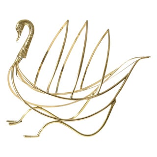 Italian Swan Magazine Rack Attributed to the French Maison Jansen, Signed Italy, C.1960 For Sale