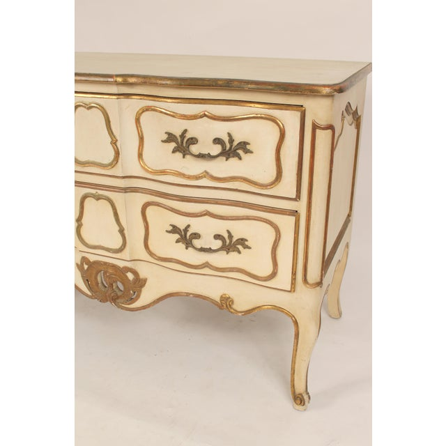 Louis XV Style Painted and Partial Gilt Chest of Drawers For Sale In Los Angeles - Image 6 of 13