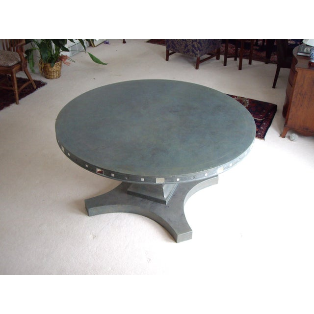 Not Yet Made - Made To Order French Provincial Single Pedestal Concrete Dining Table For Sale - Image 5 of 6