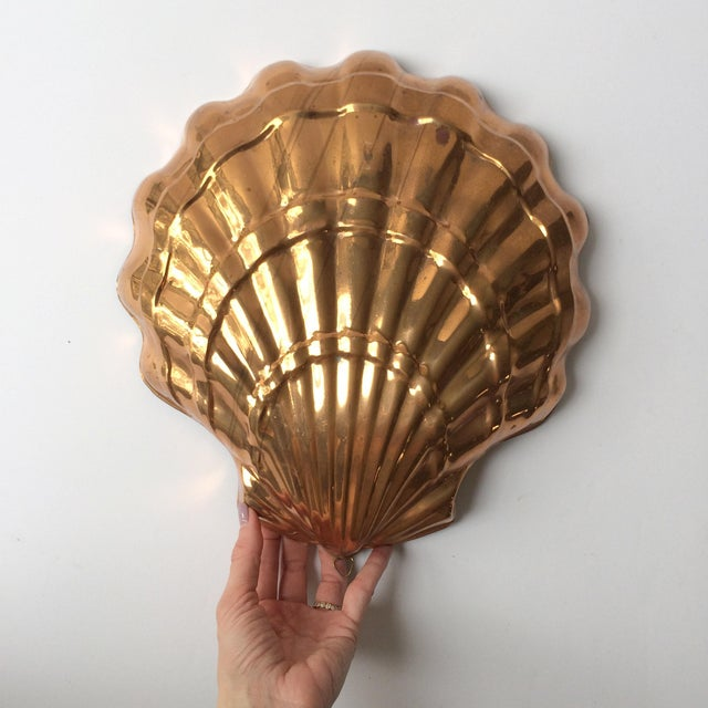 Large Vintage Italian Copper Seashell Mold With Hanging Loop - Image 3 of 7