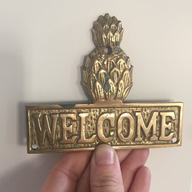 Vintage Hollywood Regency Brass Pineapple Placquard Welcome Sign For Sale - Image 9 of 9