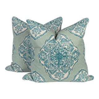 Teal and Ivory Batik and Silk Pillows, a Pair For Sale