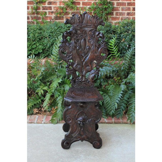 "Antique Italian Renaissance Carved Walnut ""Sgabello"" Side or Hall Chair. 19th Century Highly carved ""Sgabello"" chair with..."
