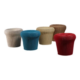 Egon Eiermann set of five rattan stools, Germany, 1950s For Sale