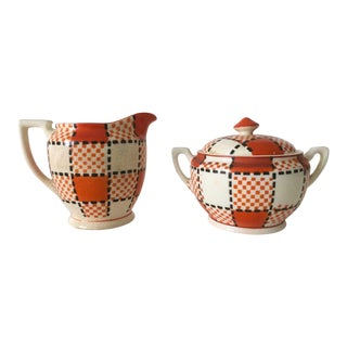 Rare Vintage 1940s Art Deco Kikusui Japan Orange Plaid Ceramic Cream & Sugar - 3 Piece Set For Sale