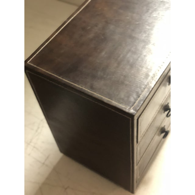 Mid-Century Modern Brown Leather Chest of Drawers For Sale - Image 4 of 9