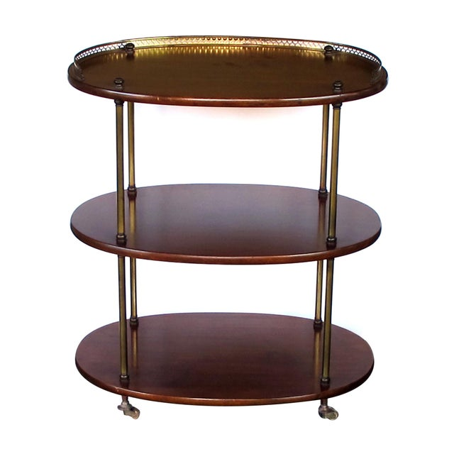 Late 19th Century A handsome English 3-tier solid mahogany oval etager with brass mounts For Sale - Image 5 of 5