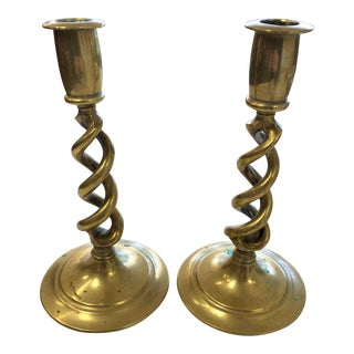 Vintage Spiraled Brass Candle Sticks - a Pair For Sale