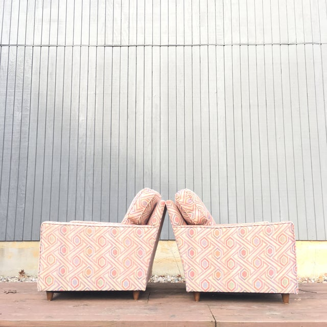 Striking Mid Century club loungers. Unique pattern works well with the sleeked back 1960s chair design. Works well in...