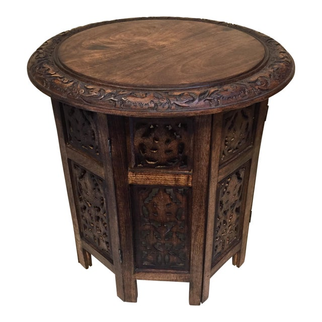 Teak Carved Round Table For Sale