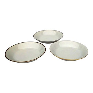 Porcelain Limoges Bowls White w Trim - M&M S/3