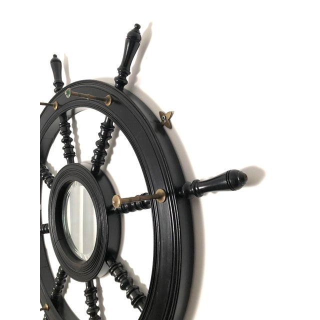 19th Century Ebonized and Turned Wood Ship's Wheel Mirror and Hat and Coat Rack For Sale - Image 4 of 11
