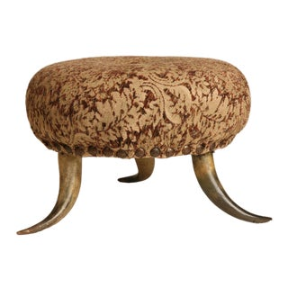 1900s Americana Cow Horn Footstool For Sale